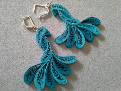 Peacock Quilling Earring Jewellery Designs 2015