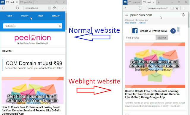 normal website vs weblight websight