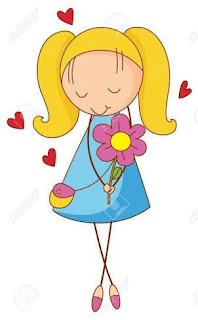 dibujos niña con flores