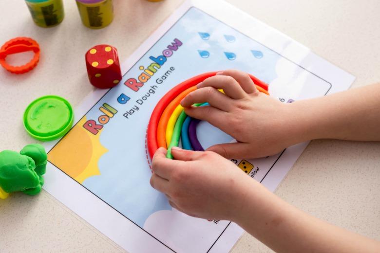 roll a rainbow playdough game