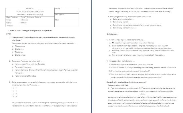 Soal uts kelas 6 tema 7 subtema 2-3