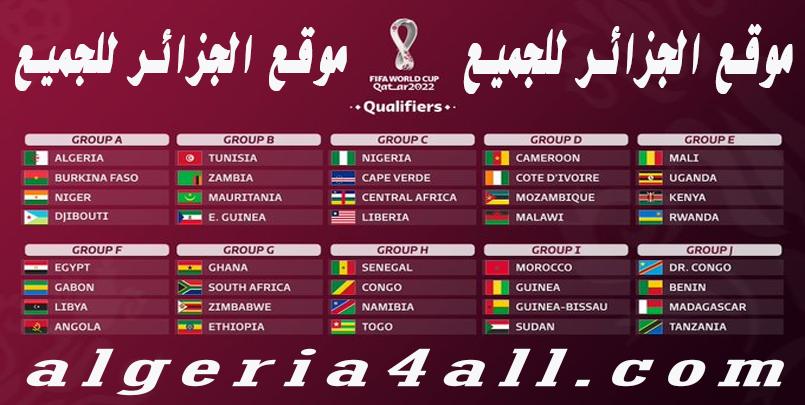مجموعات التصفيات الإفريقية كأس العالم قطر 2022
