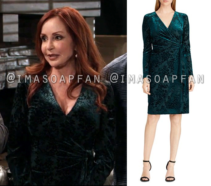 Bobbie Spencer, Jackie Zeman, Dark Green Floral Flocked Velvet Wrap Dress, General Hospital, GH