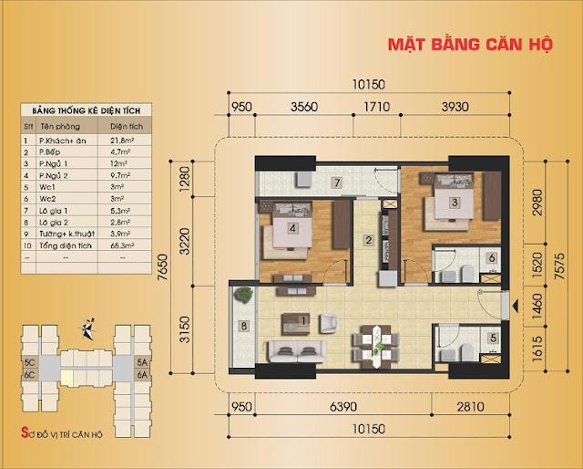 Thiết kế căn hộ 2 ngủ điển hình Gemek Premium