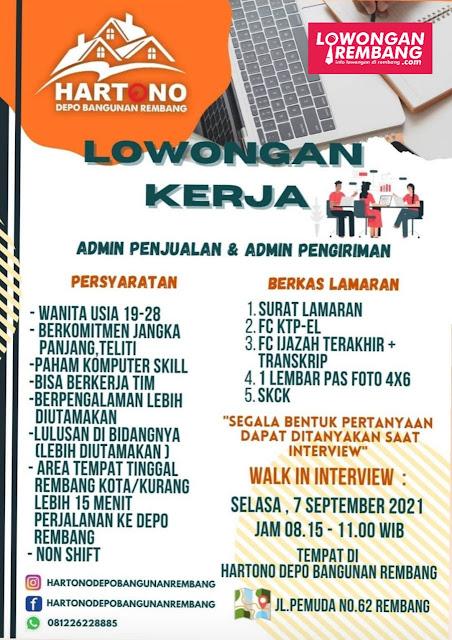 Lowongan Kerja Admin Penjualan dan Admin Pengiriman Hartono Depo Bangunan Rembang