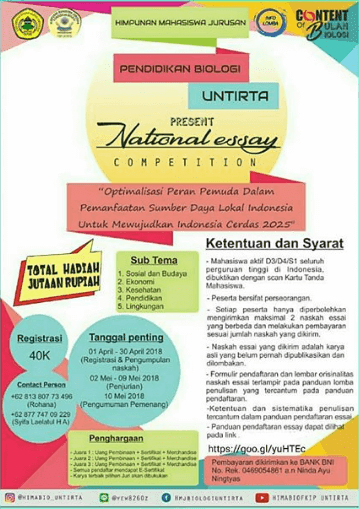 Lomba National Essay Competition Untirta