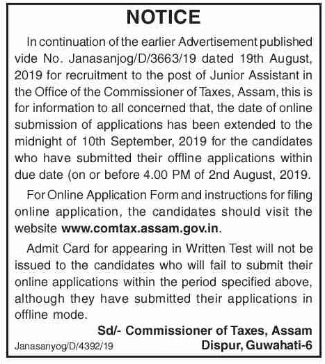 Commissioner of Taxes Assam Recruitment 2019 Latest Notification