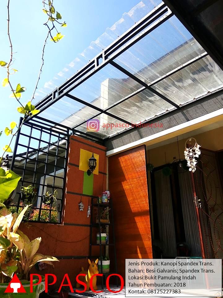 Kanopi Teras Minimalis dengan Atap Spandek Transparan Cantik di Pamulang