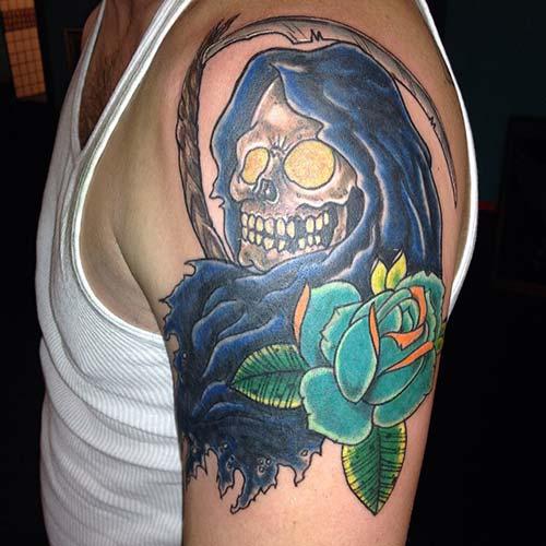 blue grim reaper tattoos azrail dövmeleri