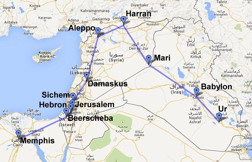 Карта паломничества праотца Авраама в Святую Землю