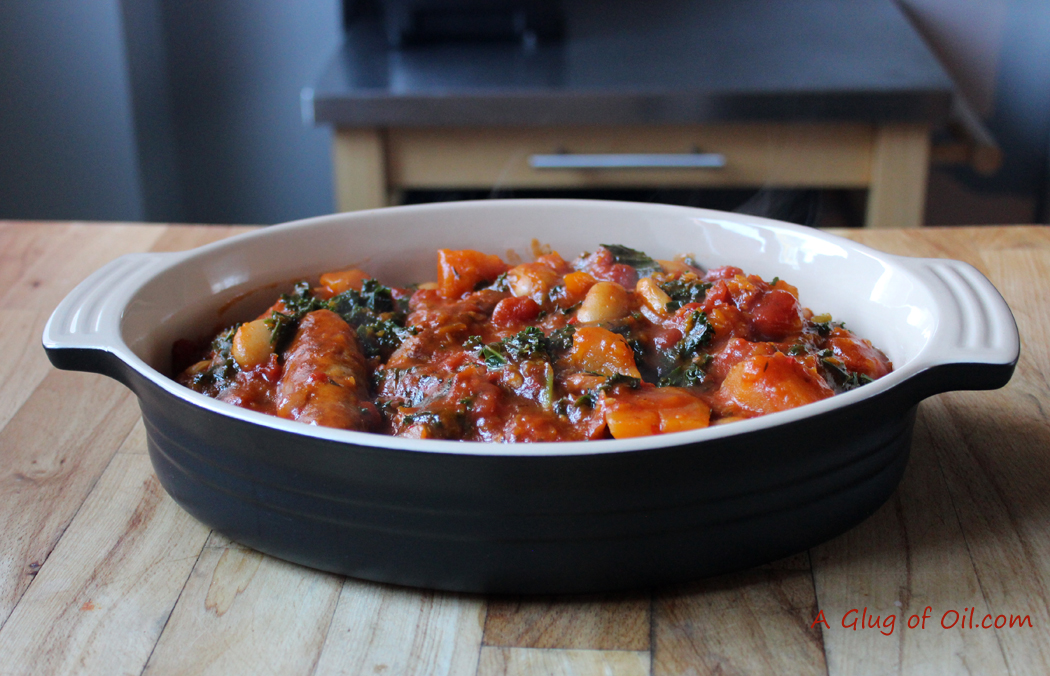Sweet Potato Topped Sausage and Kale Cassoulet