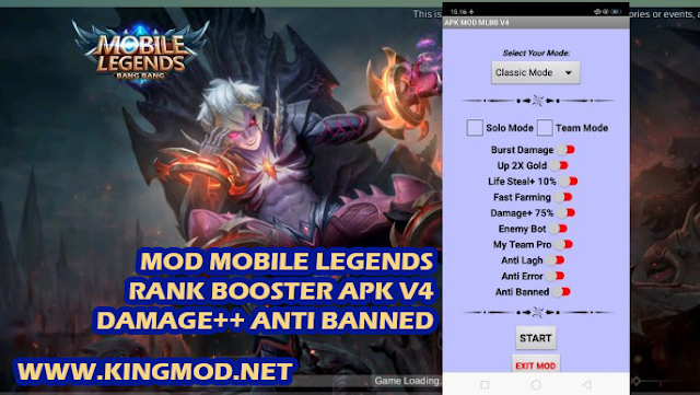 Download Aplikasi MOD Mobile Legends Rank Booster Damage++ Anti Banned v4 Patch Dyrroth Terbaru kingmod.net