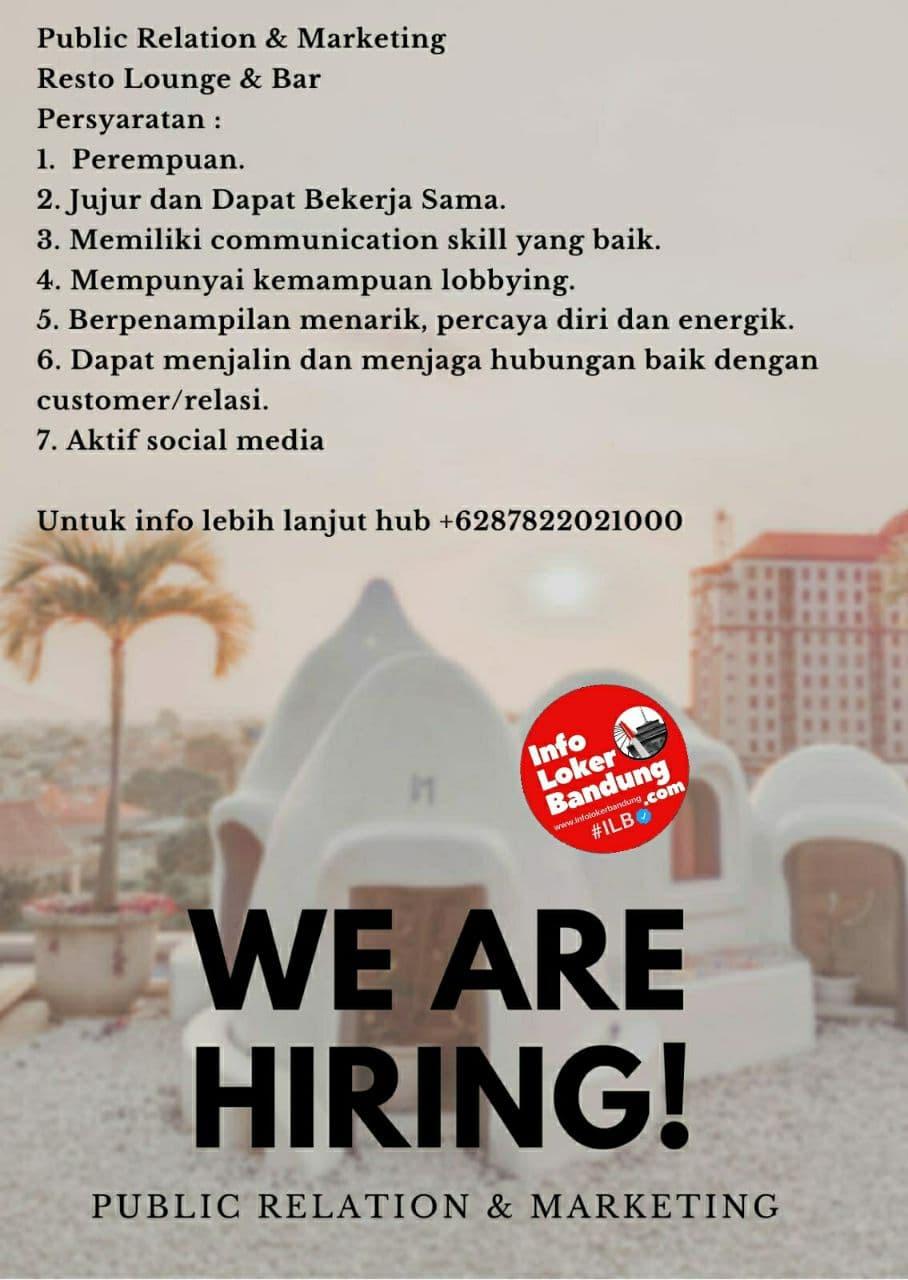 Lowongan Kerja Resto Lounge & Bar Bandung Agustus 2021