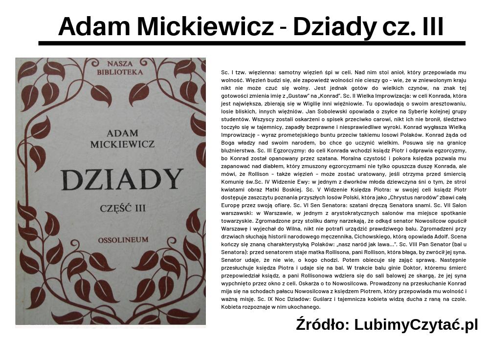 Adam Mickiewicz - Dziady cz. III, Topki, Marzenie Literackie