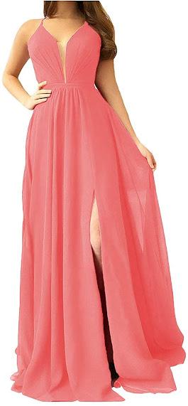 Good Quality Coral Chiffon Bridesmaid Dresses
