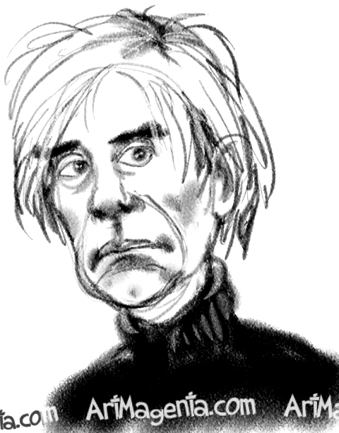 Andy Warhol caricature cartoon. Portrait drawing by caricaturist Artmagenta