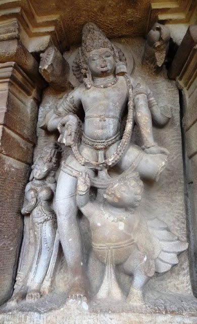 Places to see in Aihole - Durga temple - Vishnu flying on Garuda