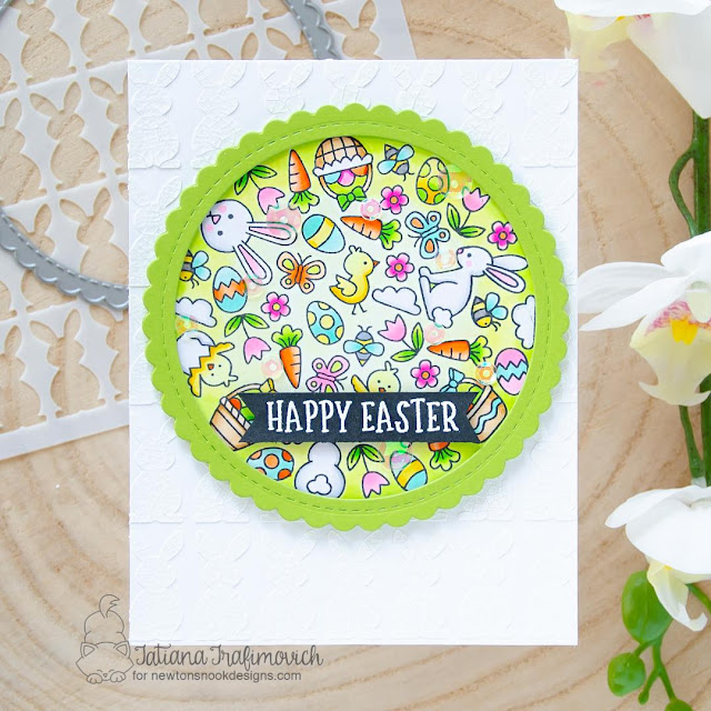 Happy Easter card by Tatiana Trafimovich | Spring Roundabout Stamp Set, Circle Frames Die Set, Banner Trio Die Set and Bunny Tails Stencil Set by Newton's Nook Designs