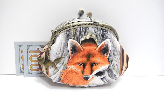 Сумочка с фермуаром, сумочка на защелке, кошелек из ткани Рыжая лисичка: натуральный хлопок.