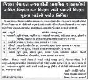 District panchayat Navsari Primary School recruitment for Pravasi teacher post-2020