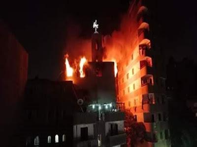 كنيسة العذراء, عين شمس, تصاعد ألسنة النيران,