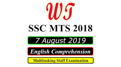 SSC MTS 7 August 2019 All Shifts English Questions PDF Download Free