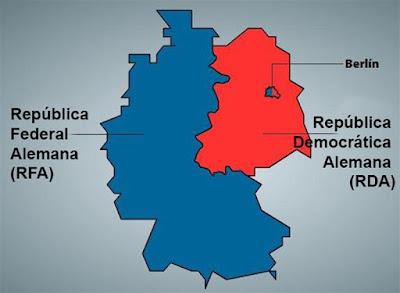 Mapa de la RFA y RDA