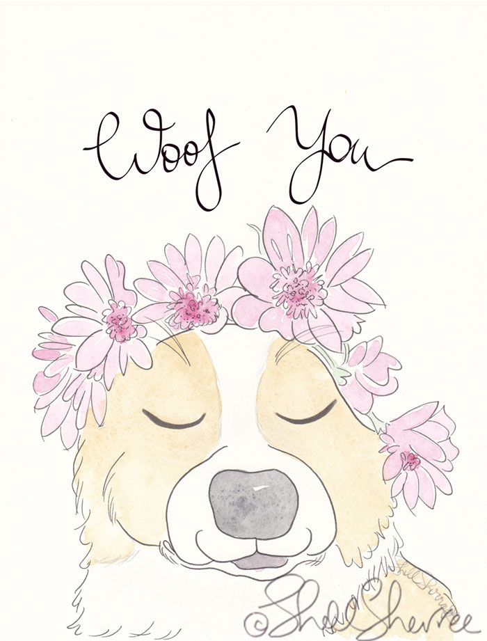 Woof You Sweet Brown White Dog and Flower Crown illustration © Shell Sherree all rights reserved