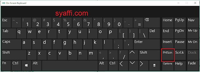 PrtSc on screen keyboard windows 10