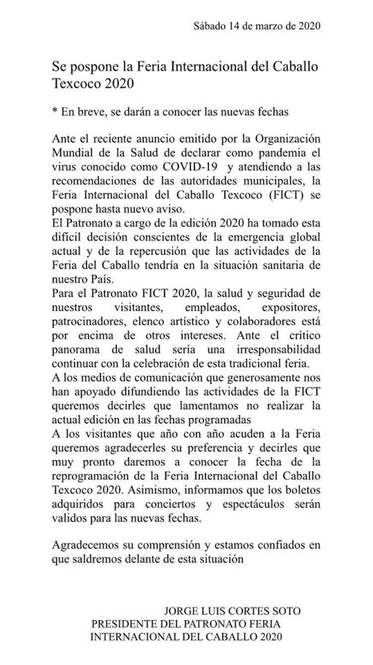 nuevas fechas del palenque texcoco 2020