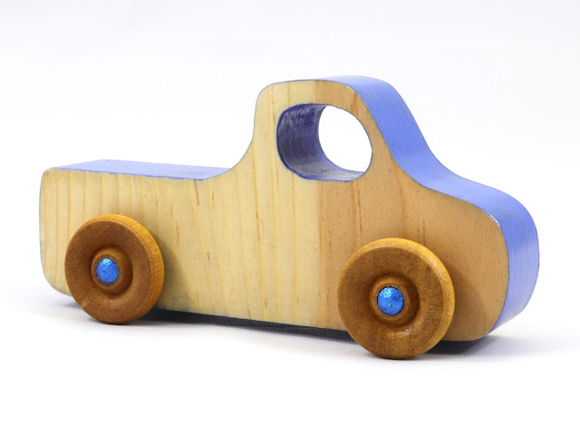 Handmade Wood Toy Pickup Truck from the Play Pal Series Blue Two Tone Body With Metallic Blue Hubs