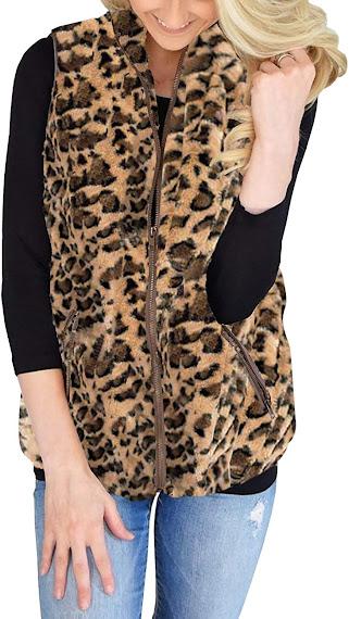 Cheap Leopard Faux Fur Vest