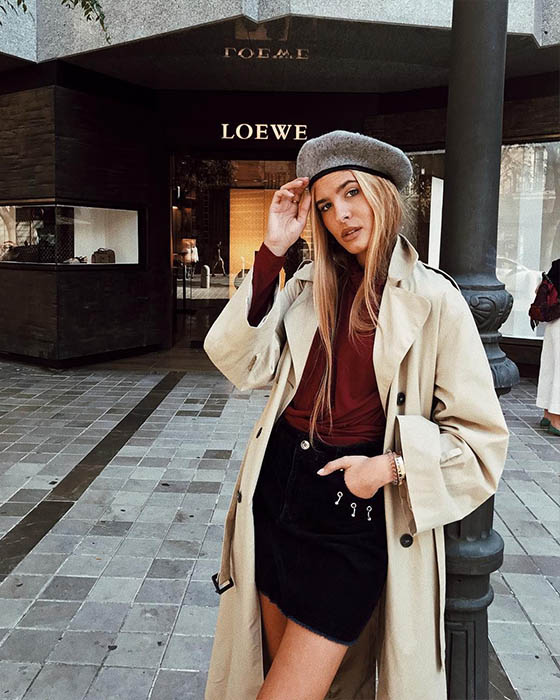 outfit casual de invierno con boina