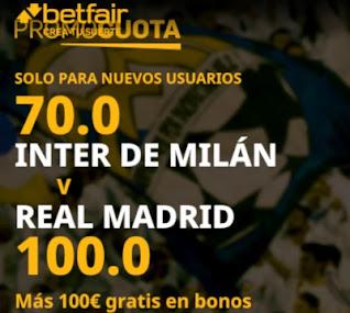 betfair promocuota champions Inter vs Real Madrid 25 noviembre 2020