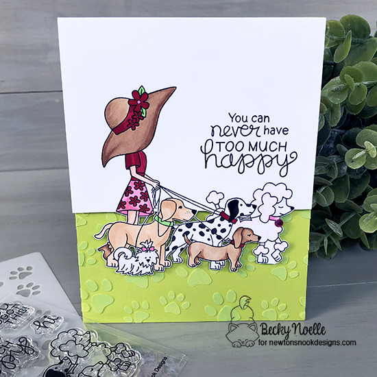 You can never have too much happiness by Becky features Walking Woofs and Paw Prints by Newton's Nook Designs; #newtonsnook