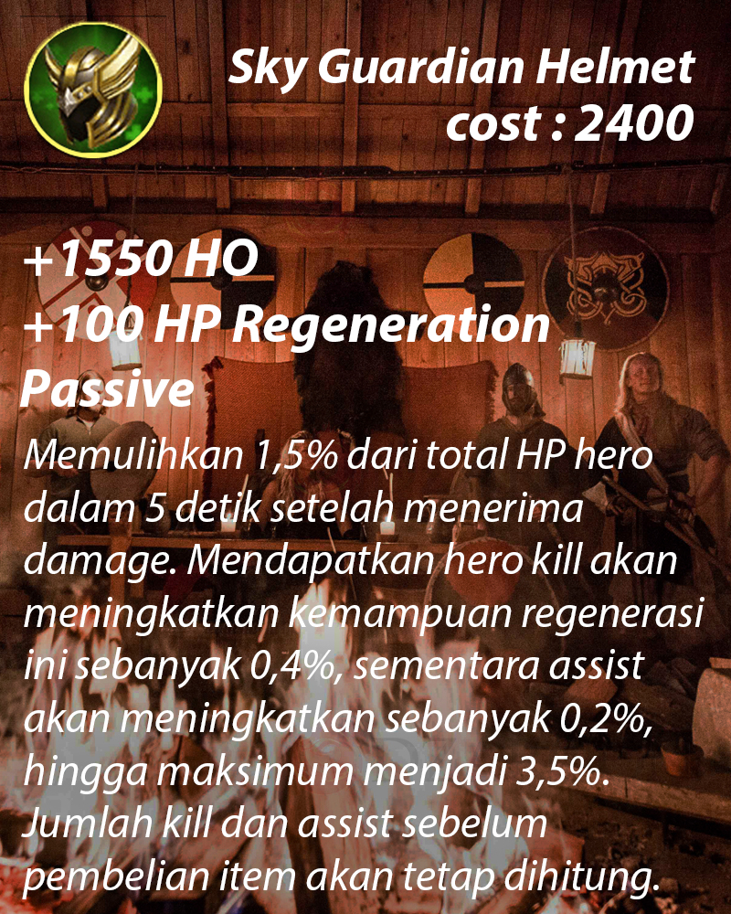Sky Guardian Helmet (+100 HP Regenartion) buat dara Franko super tebal
