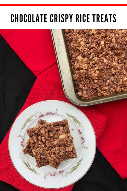 Chocolate crispy rice treats on plate and in pan.