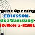 Urgent Openings: ERICSSON-Idea/Samsung-jio/Nokia-bsnl.