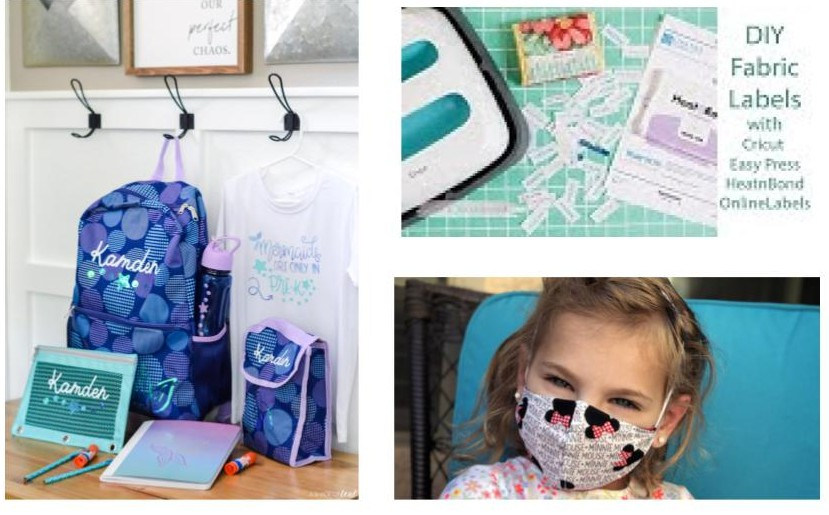 make labels, a cute disney mask, and monogram back to school gear