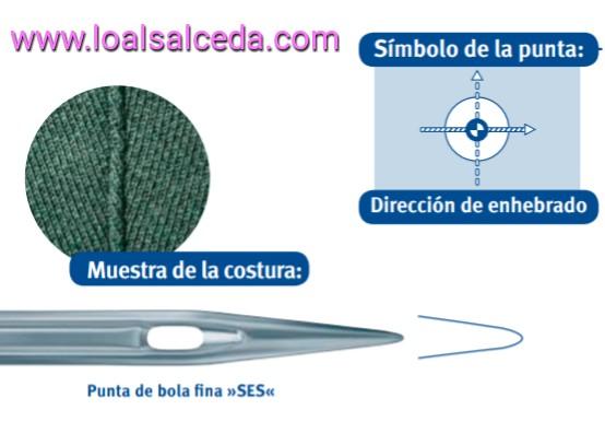 Aguja de maquina de coser, aguja punta de bola SES, aguja maquina de coser