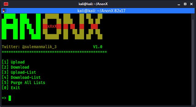 Anonx main menu