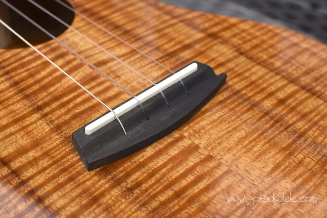 Kala Elite Koa Tenor Ukulele bridge