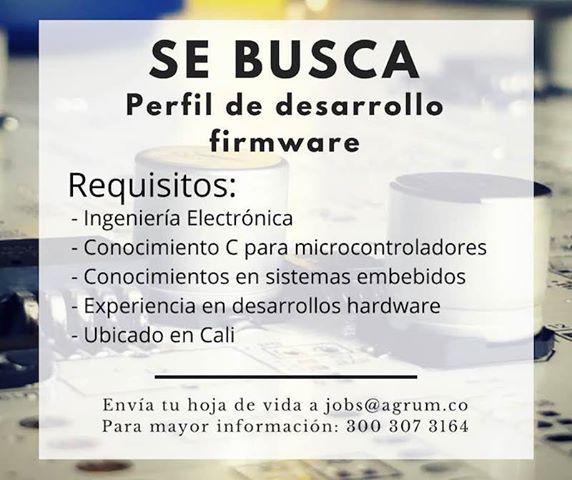 Oferta de Trabajo y Empleo en Cali como Desarrollo Firmware Ingeniero Electronico