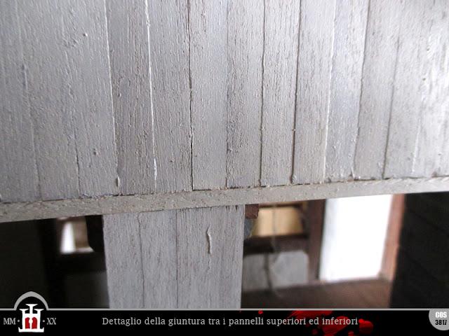 Dettaglio della giuntura tra i pannelli superiori ed inferiori