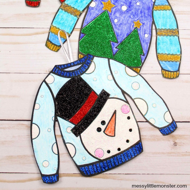 Ugly sweater ornament template