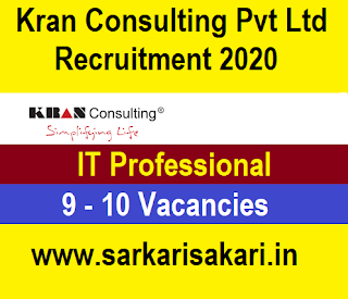 Kran Consulting Pvt Ltd Recruitment 2020 - IT Professional