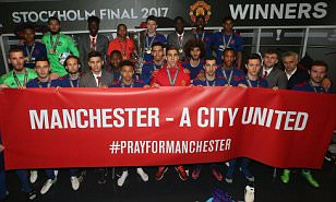 Triumph Manchester United dedicate trophy to terror attack victims