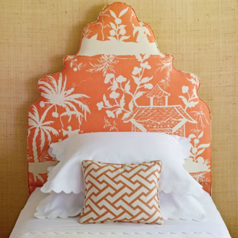 Asian inspired coral print upholstered headboard