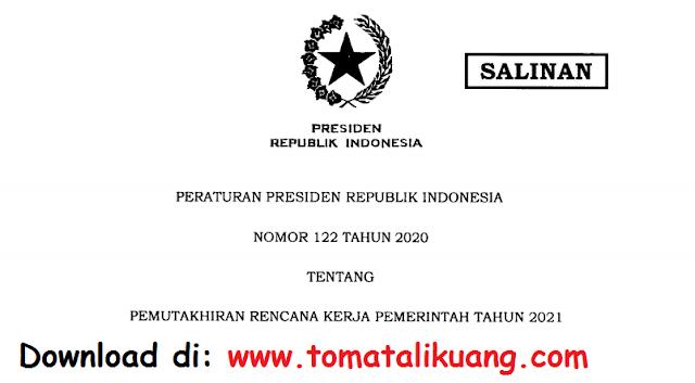 peraturan presiden perpres nomor 122 tahun 2020 tentang pemutakhiran rencana kerja pemerintah tahun 2021 pdf tomatalikuang.com