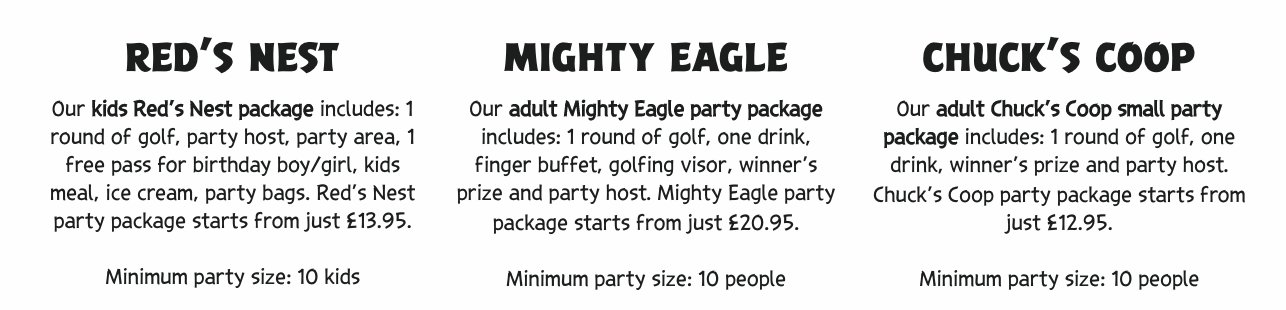 party packages   -Angry Birds Adventure Golf Review at intu Metrocentre | Opening, Prices & Food